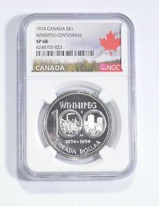 SP68 1974 Canada $1 Silver - Winnipeg Centennial - Graded NGC *154