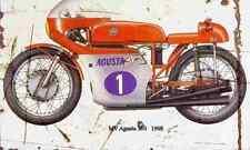 MV Agusta 350 1968 Aged Vintage Photo Print A4 Retro poster