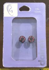 Claires Claire's Earrings Black Pink Gem 1.63mm Flesh Tunnel Jewellery RRP £6