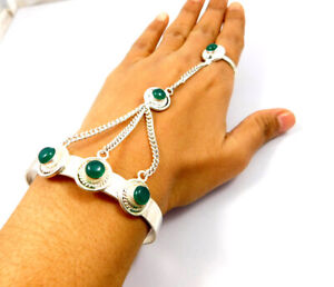 Green Onyx .925 Silver Plated Bracelet With Adjustable Ring Jewelry IJC10971