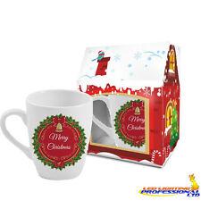 """REGALO di Natale caffè tè tazza """"BUON NATALE-ROSSO tema"""" in una scatola regalo 300ml"""