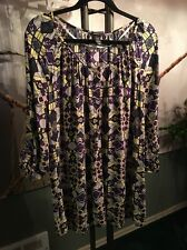 H&M WOMENS TUNIC TOP PLUS 1X 18/20W RAYON FLORAL 3/4 SLEEVE