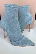Gianvito Rossi Denim Stretch Sock Pull On Blue Washed Ankle Boots Booties 40