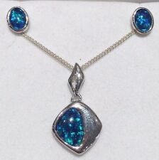 Australian Triplet Black Opal Set Sterling Silver Setting