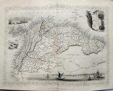 VENEZUELA, COLOMBIA, ECUADOR, GUAYANA, FINE ENGRAVED TALLIS / RAPKIN MAP 1851