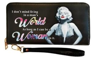 Marilyn Monroe Black With Colored Letters Zipper Wristlet Wallet  - Licensed New
