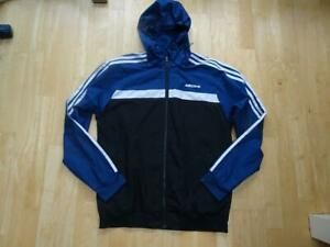 ADIDAS mens blue black white zip thru tracksuit jacket SIZE MEDIUM AUTHENTIC