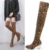 Womens Leopard Over Knee Thigh High Crystal Block Heel Stretch Calf Leg Boots SZ