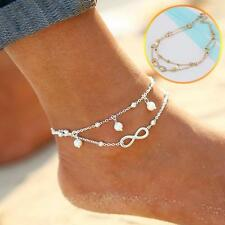 Boho Pearl Infinity Anklet Vintage Style Silver Moon Maiden