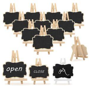 10pcs Wooden Mini Blackboard Memo Sign Message Chalk Board Stand Wedding Decor