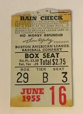 June 16, 1955 Boston Red Sox Vs Kansas City A's Ticket Stub Ted Williams HR