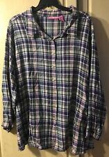 WOMAN WITHIN Plus Size 5X FLANNEL SHIRT BUTTON UP TOP LONG SLEEVES Purple Plaid