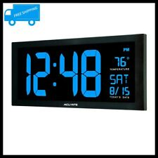 Large LED Digital Clock Wall Desk Calendar Thermometer Blue Display Home Office