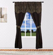 "Unique Faux Silk Rod Pocket European Inspired 5PC Curtain Set, 54"" W by 84"" L"