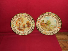 VINTAGE ~ 2 DUTCH TIN PLATES w COUNTRY SCENES!   A+++ COND!     BUY IT NOW!