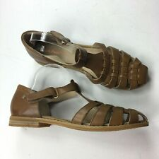 Hush Puppies Moyen Beige Leather Fisherman Sandals Sz 12 New