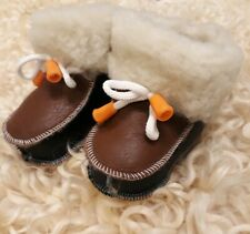 Baby 100% Sheepskin Leather Slippers,Boots, Brown,Unisex in size UK3
