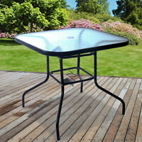 OUTDOOR SQUARE GLASS TOPPED TABLE METAL GARDEN FURNITURE PATIO SET BLACK STEEL