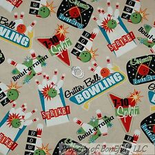 BonEful Fabric FQ Cotton Quilt VTG Tan Brown B&W White US Bowling Ball Pin Alley