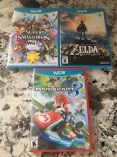 3 GAMES Mario Kart 8 - Smash Bros. - Zelda Breath of the Wild Nintendo Wii U NEW