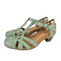 Cobb Hill New Balance Aubrey Teal Leather T Strap Strappy Sandals Size 9.5 M