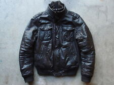 Abercrombie & Fitch Leather Flight Jacket Size S Brown Coat Heavy Winter