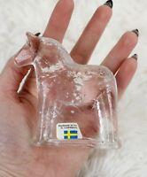 "SWEDISH LINDSHAMMAR SWEDEN ART CLEAR GLASS DALA HORSE PAPERWEIGHT 3.25"" TALL"