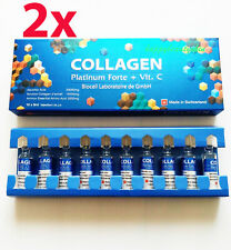 2 Boxes Collagen Platinum Forte + Vit C Biocell 10 Amps X 5ml. Free Shipping