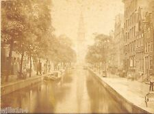 Large antique cabinet photo of the Groeneburgal Canal Amsterdam 1890's