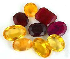 99Ct/9Pcs Excellent Mix Shape Ruby & Yellowish Citrine Loose Gemstone Lot-EBAY