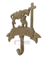 Western Praying Cowboy Wall Hook Key Holder Coat Hanger Cast Iron Welcome Rustic