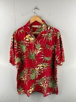 Sun Casuals Men's Vintage Short Sleeve Hawaiian Shirt Size XL Red