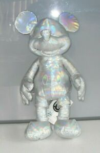Rare Collectable Limited Edition Silver Iridescent Mickey Mouse Soft Toy & Tags