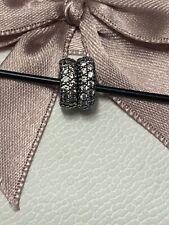Genuine Pandora White Pave Silver Clip Charm/bracelet/spacers set x2