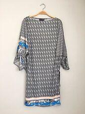HALE BOB 3/4 Sleeve Boatneck Printed Draped Silk Shift Tunic Dress Grey S $248