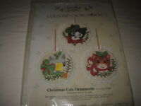 """Something Special Counted Cross Stitch Kit 4"""" Christmas Cats Ornaments Set of 3"""