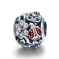 925 Sterling Silver Fashion Red Ladybug Flower Wonderland Beads pandora Charm