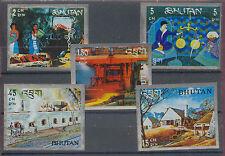 Eisenbahn, Railways, Stahlerzeugnisse - Bhutan - 5 Werte ** MNH Teilsatz
