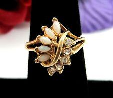 Imitation OPAL & RHINESTONE COCKTAIL Ring Cluster Vintage Marquise Goldtone Sz 7