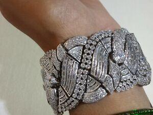 925 Sterling Silver Bracelet Vintage Style Handmade White Baguette Royal Jewelry