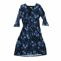 Monsoon Women's Midi Dress 14 Blue, Blend - viscose