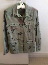 CASUAL OLIVE GREEN FLORAL  DENIM JACKET SIZE EUR 38