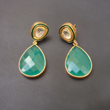 Stunning Green Onyx Or Polki Diamond Gold Plated Silver Stud Earrings For GIFT