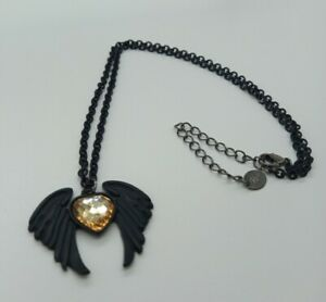 Matte Black Angel Devil Winged Heart Necklace Gothic Style Claires