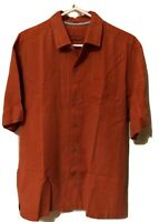 Tommy Bahama Orange Medium 100% Silk Short Sleeve Shirt