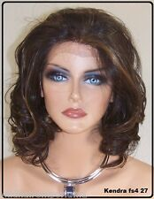 USA Brown Highlights 4.27 Shoulder Length Lace Front Wig Heat Ok Iron Safe  Ken