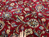 10x13 RED BLUE PERSIAN RUG HAND KNOTTED ANTIQUE WOOL RUGS ORIENTAL navy handmade