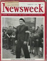 NEWSWEEK FEB 7 1944 WWII  JAPAN BRUTALITY to POWS, NAZI VICHY FRANCE HITLER ART