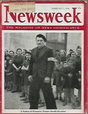 NEWSWEEK FEB 7 1944 WWII  JAPAN BRUTALITY to POWS, NAZI VICHY FRANCE HITLER ART