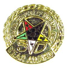 Gold Tone Pin with Order of the Eastern Star 50 Years Grand Chapter of Indiana
